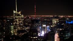 Bird's-eye view of Manhattan at night. New York City. Stock Footage