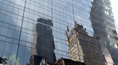 Reflection of Crown Building at the glass facade of Solow Building Stock Footage