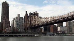 Queensboro Bridge & Manhattan's view  from Roosevelt Island Stock Footage