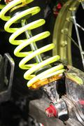 Yellow shock absorber Stock Photos