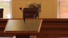 Speakers podium Stock Footage