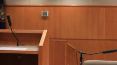 Pan of empty courtroom - stock footage