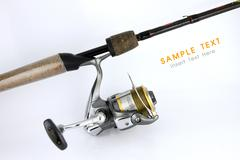 The lateral reel fishing with rod. Stock Photos