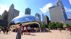 Chicago Cloud Gate Bubble Timelapse Stock Footage
