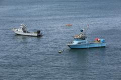 Fishing boats anchored Pacific Ocean California Stock Photos