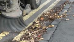Road Sweeper Clearing Leaves 2 Stock Footage