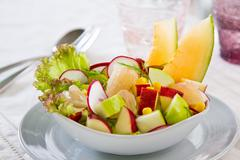 Apple with Pommelo and Corn salad - stock photo