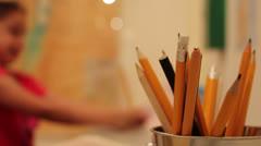 Change focus kid homework Stock Footage
