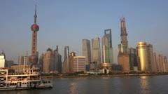Stock Video Footage of traveling ship in Shanghai