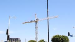 Work Crew Assembles Construction Crane Stock Footage