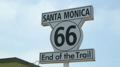 Route 66 sign in Santa Monica Stock Footage