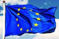 EU flags. - stock photo