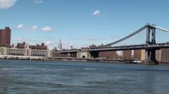 View of Lower Manhattan & Manhattan bridge from the Brooklyn Bridge. Stock Footage