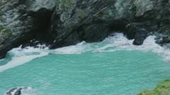 Cove Bay Rock Crashing Waves Seagull Atlantic Ocean Rainy - 29,97FPS NTSC Stock Footage