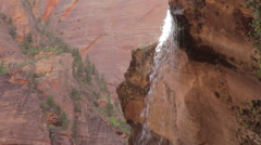 The emerald pool waterfall in zion national park Stock Footage