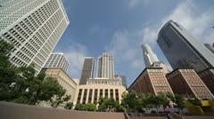 Los Angeles downtown buildings wide pan - stock footage