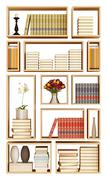 wall bookcase isolated on white - stock illustration