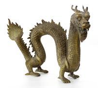 Dragon sculpture isolated on white Stock Photos