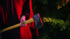 Axe scary murderer freaky macabre ax sledge hammer Stock Footage