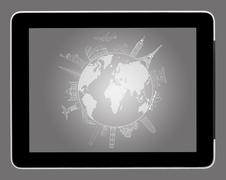 A drawing travel around the world on tablet pc Stock Illustration