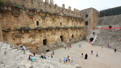 Ancient amphitheater in Aspendos Turkey Stock Footage