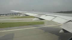 airplane at takeoff. view trough window with some shaking - stock footage
