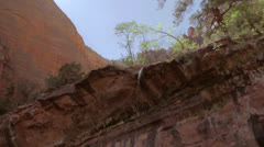The beautiful emerald pool waterfall at zion national park Stock Footage