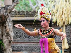 barong and kris dance perform, bali, indonesia - stock photo