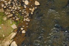 Stock Photo of Aerial View of the Rocky Shoreline of a River