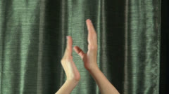 Clapping on green curtain Stock Footage