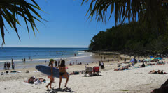 Surfers at noosa heads Stock Footage