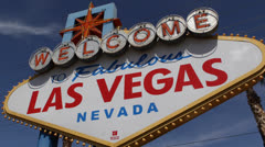 Daylight Welcome to Fabulous Las Vegas Sign Strip Rich People Entertainment City Stock Footage