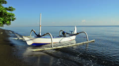 Boat of a fisherman in Bali called Jukung Stock Footage