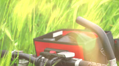 Detail of handlebars of mountain bike Stock Footage