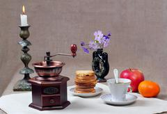 Still-life with a manual coffee grinder Stock Photos