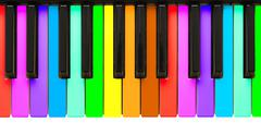 rainbow piano keys - stock photo