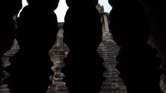 Angkor Wat dolly shot from inside window Stock Footage