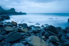 Rocky seacoast, long time exposure, taiwan, east asia Stock Photos