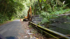 Roadside collapse in road leading to El Yunque National Forest Stock Footage