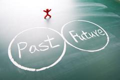 one man between past and future. - stock photo