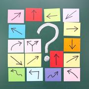 Stock Photo of question mark with different direction