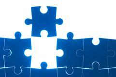 puzzle blue isolated on white background - stock photo