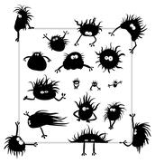 Group of funny creatures similar to microbes Stock Illustration