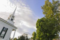 stowe community church in late summer. - stock photo