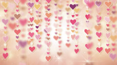 Dangling pink hearts loopable background 4k Stock Footage