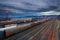 Cargo transportatio with trains and railways Stock Photos