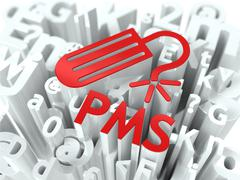 Red PMS (premenstrual  syndrome) Background. - stock illustration