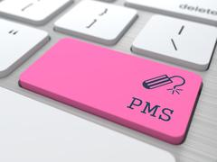 PMS (premenstrual  syndrome) on Red Button. Stock Illustration