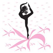 Silhouette of young woman dances on pink flowers Stock Illustration