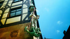 4k , sculture with a knight near Albrecht Durer house, Nuremberg Stock Footage